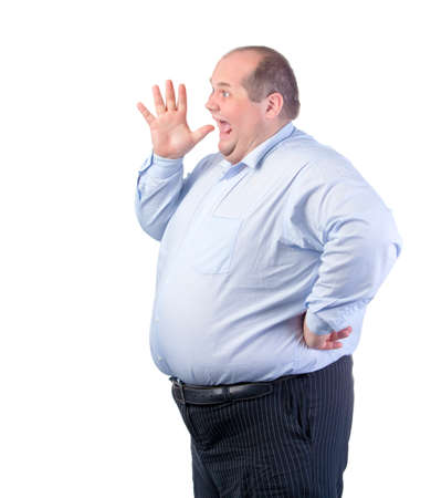fatso: Fat Man in a Blue Shirt, Shouting, isolated Stock Photo
