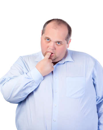 fatso: Fat Man in a Blue Shirt, Thumb-Sucking, isolated