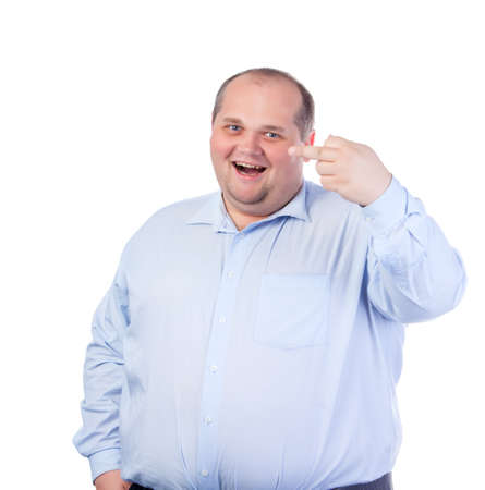 fuck: Fat Man in a Blue Shirt, Showing Obscene Gestures, isolated Stock Photo