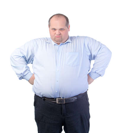 Happy Fat Man in a Blue Shirt, isolated Stock Photo