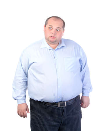 fatso: Fat Man in a Blue Shirt, Contorts Antics, isolated