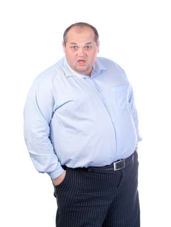 Fat Man in a Blue Shirt, Contorts Antics, isolated photo