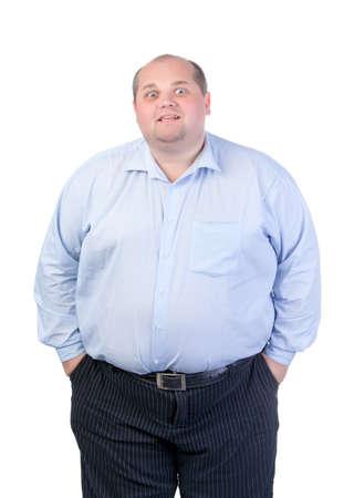 Fat Man en una camisa azul, Antics se contorsiona, aislado Foto de archivo