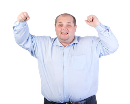 fatso: Happy Fat Man in a Blue Shirt, isolated Stock Photo