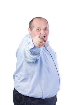 big shirt: Fat Man in a Blue Shirt, Points Finger, isolated