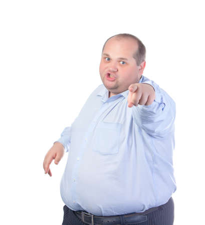 fatso: Fat Man in a Blue Shirt, Points Finger, isolated