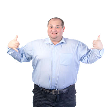 man isolated: Happy Fat Man in a Blue Shirt, isolated Stock Photo