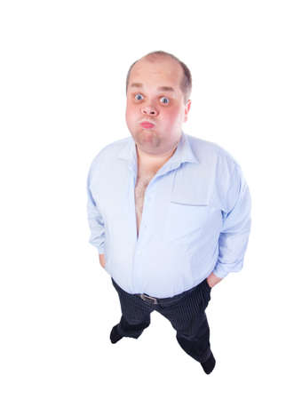 antics: Fat Man in a Blue Shirt, Contorts Antics, wide-angle top view, isolated
