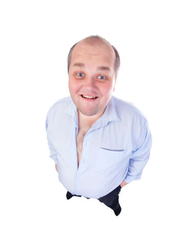 fatso: Happy Fat Man in a Blue Shirt, wide-angle top view, isolated Stock Photo