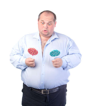 Fat Man in a Blue Shirt, with Lollipop, isolated