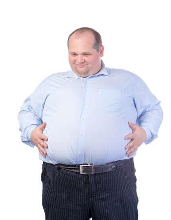 hombre calvo: Hombre feliz de grasa en una camisa azul, aislado Foto de archivo