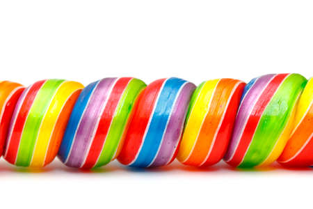 Rainbow Twirl Lollipop Candies, closeup Stock Photo