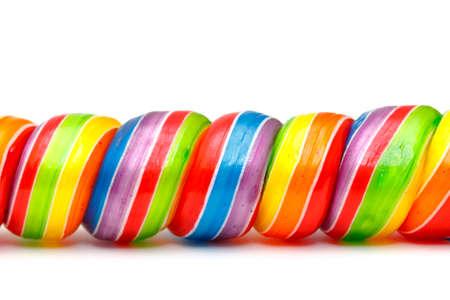 Rainbow Twirl Lollipop Candies, closeup Stock Photo