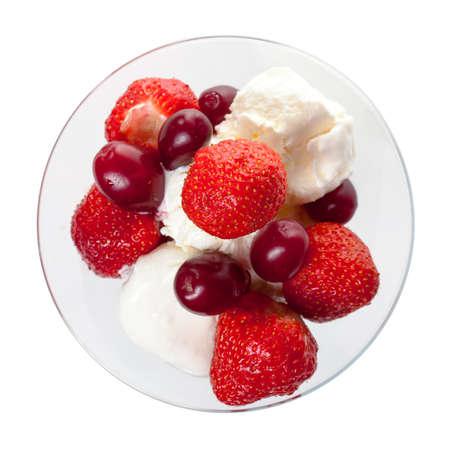 Ice Cream eper, elszigetelt fehér, felülnézet