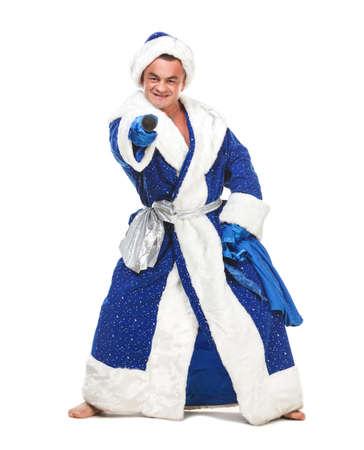 sackful: Travesty Actors Genre Depict Santa Claus, on white background
