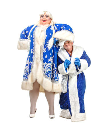 sackful: Travesty Actors Genre Depict Santa Claus and Snow Maiden, on white background