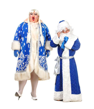 genre: Travesty Actors Genre Depict Santa Claus and Snow Maiden, on white background