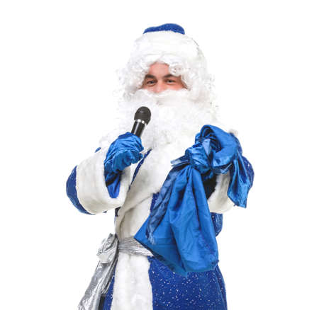 genre: Travesty Actors Genre Depict Santa Claus, on white background