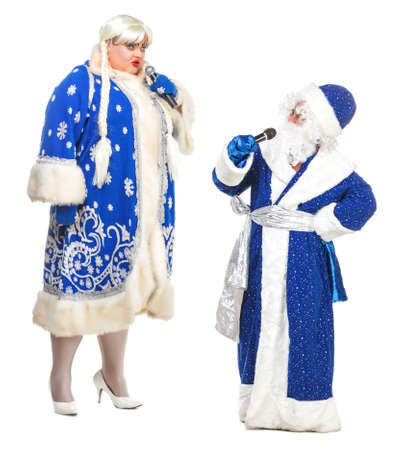 travesty: Travesty Actors Genre Depict Santa Claus and Snow Maiden, on white background