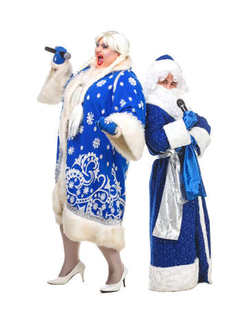 genre: Travesty Actors Genre Depict Santa Claus and Snow Maiden, on white background