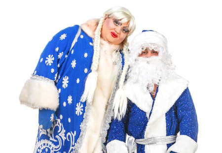 Travesty Actors Genre Depict Santa Claus and Snow Maiden, on white background