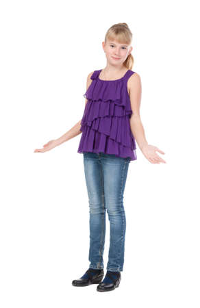 11 year old girl: Young Girl Standing In Studio, isolated on white background Stock Photo
