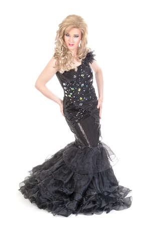 Full length portrait of drag queen. Man dressed as Woman, isolated on white background Stock Photo