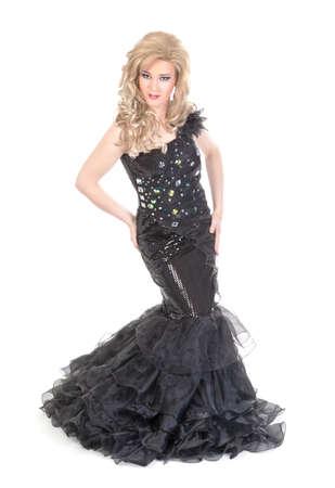 Teljes hossza portré drag queen. Ember öltözött nő, elszigetelt fehér háttér Stock fotó