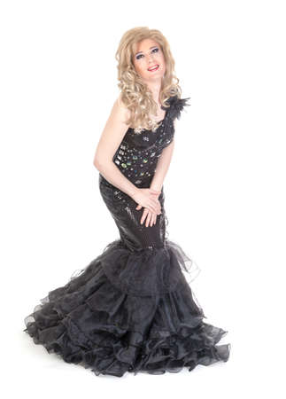 Full length portrait of drag queen  Man dressed as Woman, isolated on white background photo