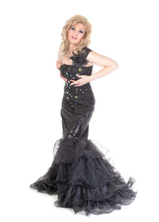 transsexual: Full length portrait of drag queen  Man dressed as Woman, isolated on white background