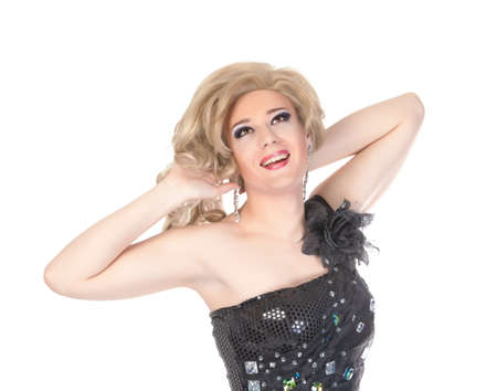 travesty: Portrait of drag queen  Man dressed as Woman, isolated on white background