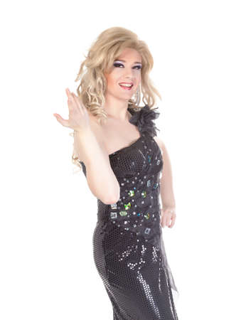 drag queen: Portrait of drag queen  Man dressed as Woman, isolated on white background