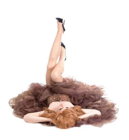 drag queen: Portrait of drag queen lying on floor. Man dressed as Woman, isolated on white background Stock Photo