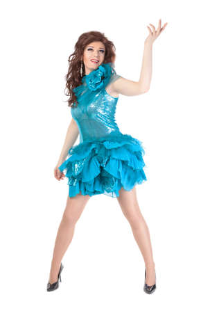 travesty: Full length portrait of drag queen. Man dressed as Woman, isolated on white background Stock Photo