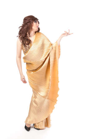 Full length portrait of drag queen. Man dressed as Woman, isolated on white background photo