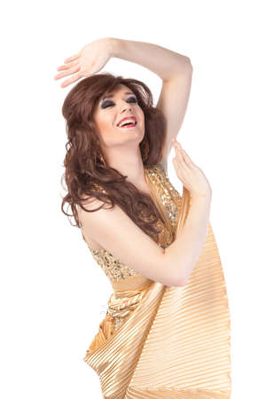 Portrait of drag queen. Man dressed as Woman, isolated on white background photo