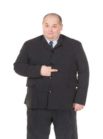 fatso: Obese businessman in a suit and tie making gesturing, isolated on white