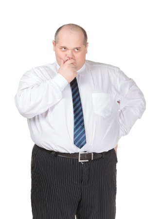 Obese businessman in a shirt and tie making gesturing, isolated on white