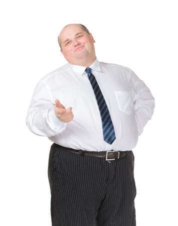 fatso: Obese businessman in a shirt and tie making gesturing, isolated on white