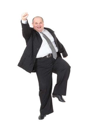 hombre calvo: Muy alegre hombre de negocios con sobrepeso, sobre fondo blanco