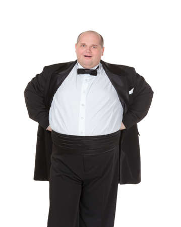 Very overweight cheerful businessman, on white background photo