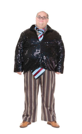outrageous: Fun portrait of an obese man with an outrageous fashion sense wearing a mixture of stripes, checks and spangles topped by an oversized flamboyant tie, on white Stock Photo