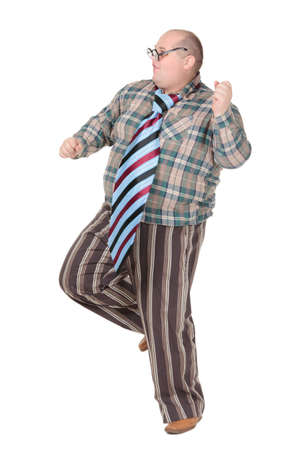 outrageous: Fun portrait of an obese man with an outrageous fashion sense with oversized flamboyant tie, on white