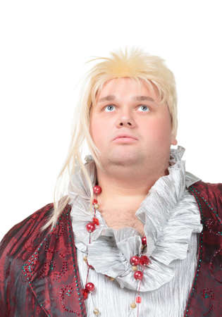 disillusioned: Overweight entertainer or disillusioned drag queen with a cheap blonde wig and flowing robe over long a black skirt, humorous portrait on a white