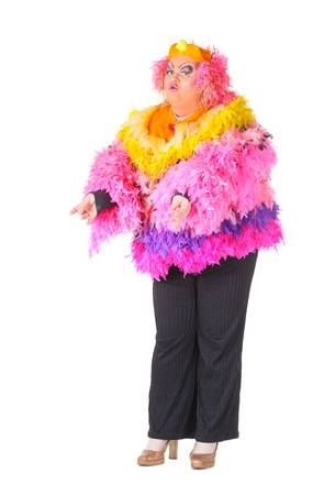Cheerful man, Drag Queen, in a Female Suit, over white background Stock Photo - 17702777