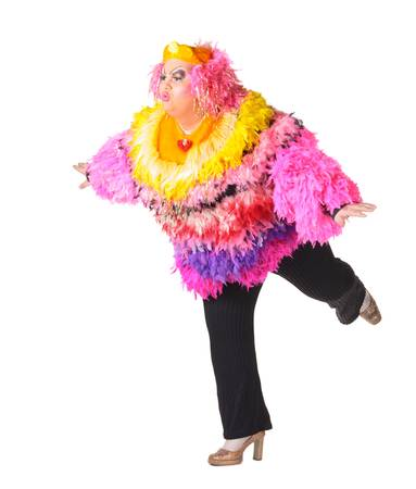 drag queen: Cheerful man, Drag Queen, in a Female Suit, over white background Stock Photo