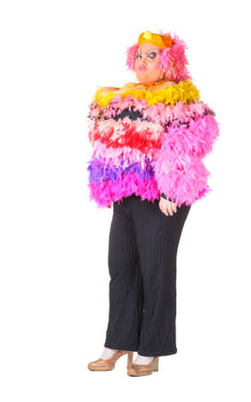 Cheerful man, Drag Queen, in a Female Suit, over white background Stock Photo - 17702760
