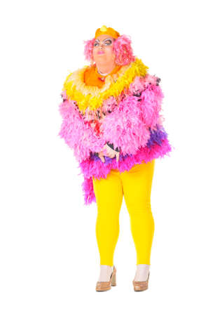Cheerful man, Drag Queen, in a Female Suit, over white background Stock Photo - 17702730