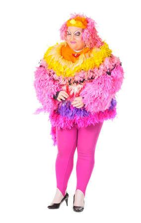 Cheerful man, Drag Queen, in a Female Suit, over white background Stock Photo - 17702766