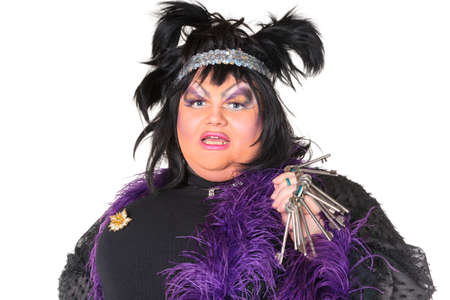 Cheerful man, Drag Queen, in a Female Suit, over white background photo